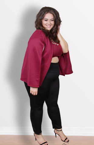 Plus Size Clothing for Women - Society+ Cape - Burgundy - Society+ - Society Plus - Buy Online Now! - 3