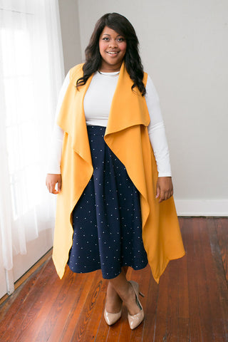 Plus Size Clothing for Women - Chicest Of Them All Vest - Mustard - Society+ - Society Plus - Buy Online Now! - 1