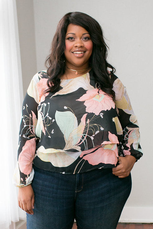 Plus Size Clothing for Women - Iris Oasis Top - Black/Pink - Society+ - Society Plus - Buy Online Now! - 1