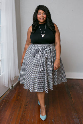 Plus Size Clothing for Women - Longbow A-line Skirt - Black/White - Society+ - Society Plus - Buy Online Now! - 1