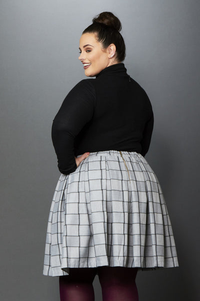 Plus Size Clothing for Women - Cher Plaid Mini Skirt - Grey/Charcoal - Society+ - Society Plus - Buy Online Now! - 3
