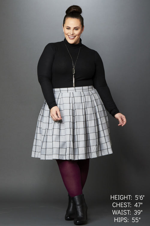 Plus Size Clothing for Women - Cher Plaid Skirt - Grey/Charcoal - Society+ - Society Plus - Buy Online Now! - 1