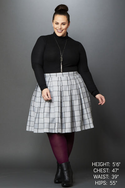 Plus Size Clothing for Women - Cher Plaid Mini Skirt - Grey/Charcoal - Society+ - Society Plus - Buy Online Now! - 1
