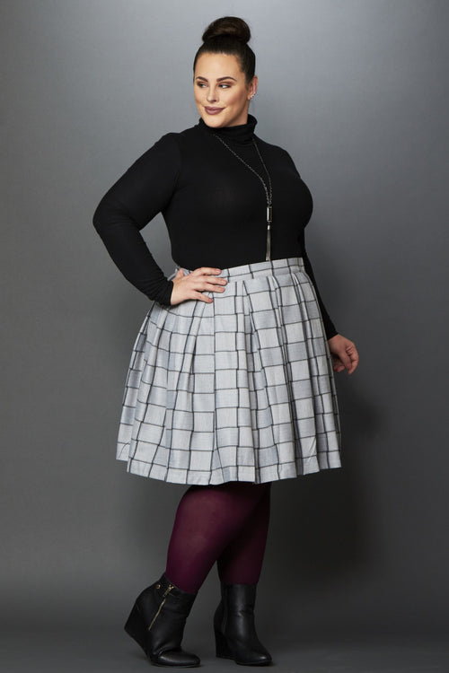 Plus Size Clothing for Women - Cher Plaid Skirt - Grey/Charcoal - Society+ - Society Plus - Buy Online Now! - 2