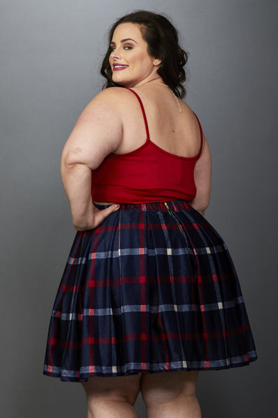 Plus Size Clothing for Women - Cher Plaid Mini Skirt - Navy/Red - Society+ - Society Plus - Buy Online Now! - 2