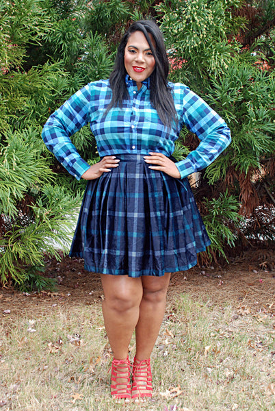 Plus Size Clothing for Women - Cher Plaid Skirt - Navy/Green - Society+ - Society Plus - Buy Online Now! - 2
