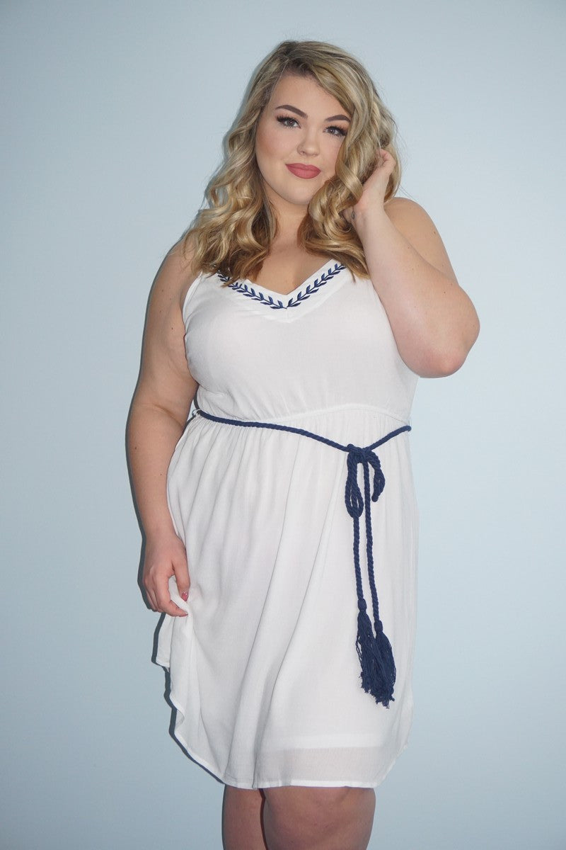 This dress has us dreaming of Greece. The detailing around the neck and the blue tie at the waist will have you feeling like a Greek Goddess while the light material will help keep you cool and comfortable. A dress that is classy, cute, and easy to wear? Yes please. 100% Rayon wash cold Hang dry Imported Length Size:14 37