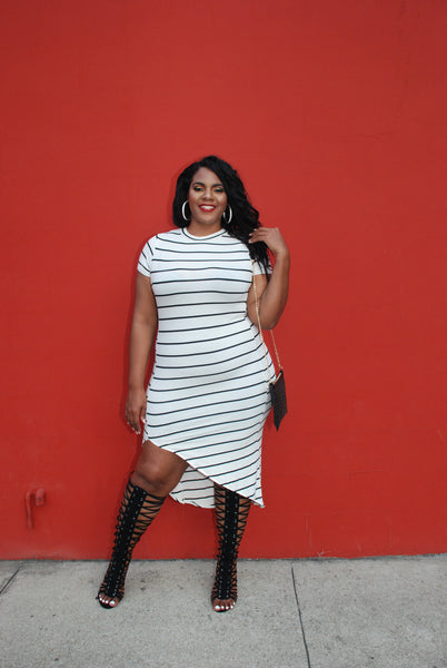 Plus Size Clothing for Women - Nautical Striped Fitted Dress - Ivory - Society+ - Society Plus - Buy Online Now! - 1