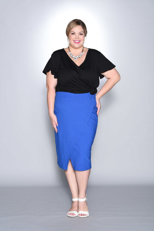 Elyse Wrap Pencil Skirt - Blue
