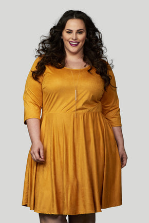 Florence Faux Suede Skater Dress - Mustard