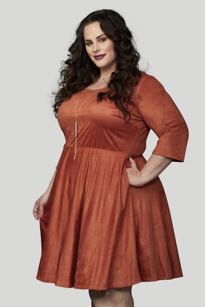 Florence Faux Suede Skater Dress - Rust