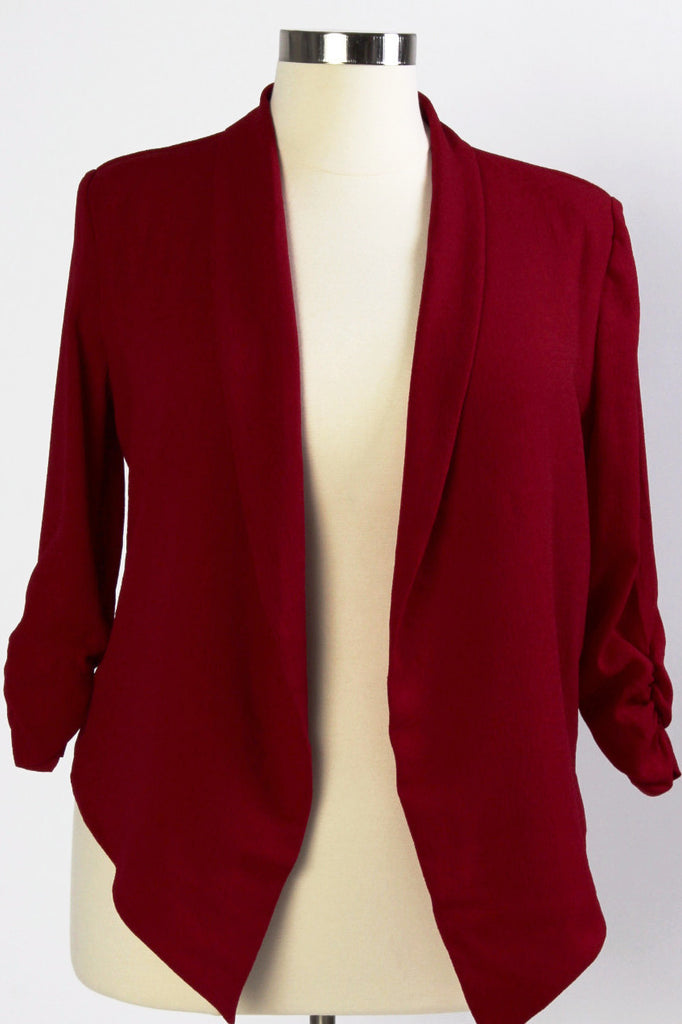 Plus Size Clothing for Women - Hadlee Structured Blazer - Burgundy - Society+ - Society Plus - Buy Online Now! - 1
