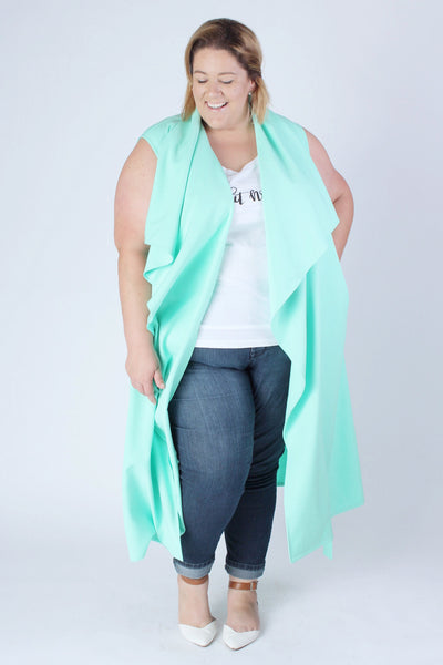 Plus Size Clothing for Women - Chicest Of Them All Vest - Mint - Society+ - Society Plus - Buy Online Now! - 3