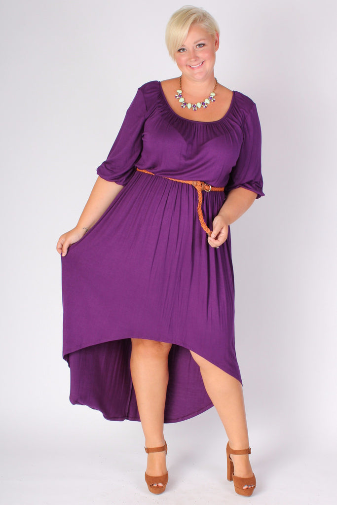 Plus Size Clothing for Women - Flowy High Low Dress - Purple - Society+ - Society Plus - Buy Online Now! - 1