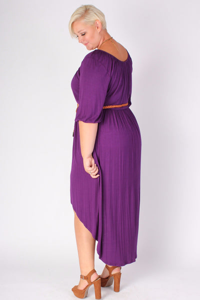 Plus Size Clothing for Women - Flowy High Low Dress - Purple - Society+ - Society Plus - Buy Online Now! - 3
