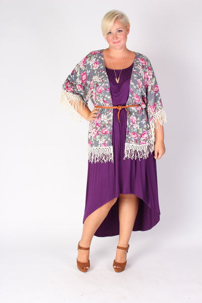 Plus Size Clothing for Women - Flowy High Low Dress - Purple - Society+ - Society Plus - Buy Online Now! - 2