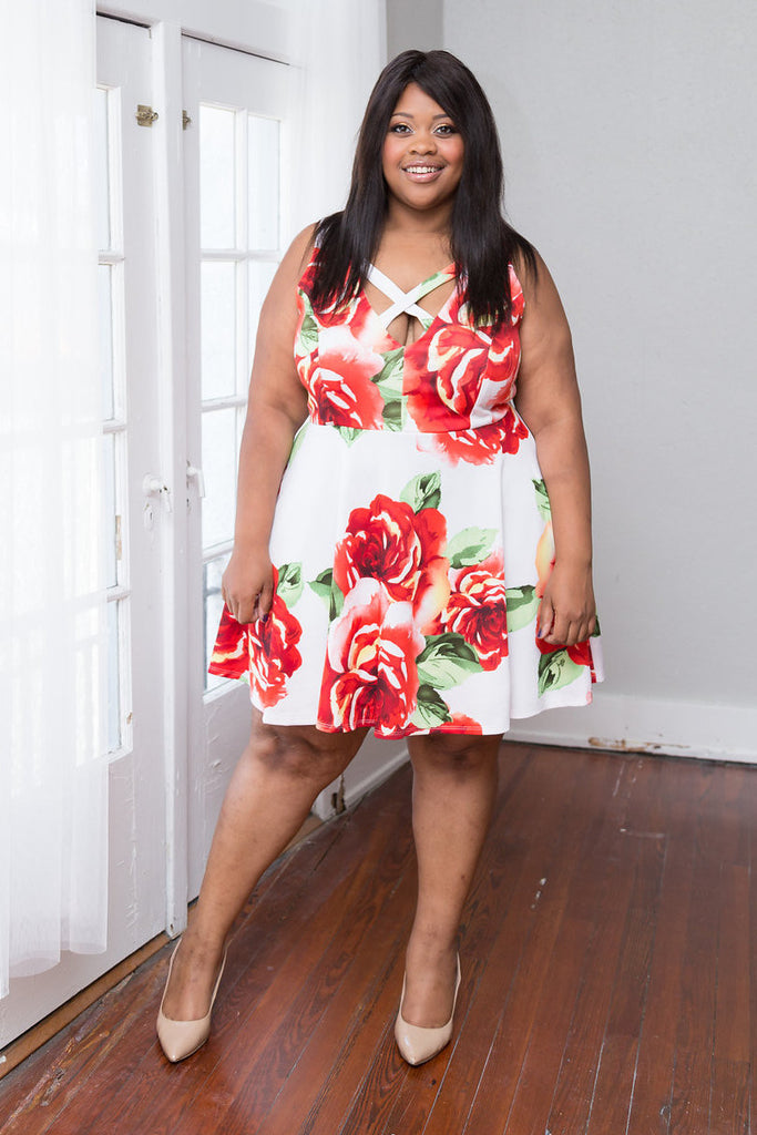 Plus Size Clothing for Women - Floral V-Neck Skater Dress - Society+ - Society Plus - Buy Online Now! - 1
