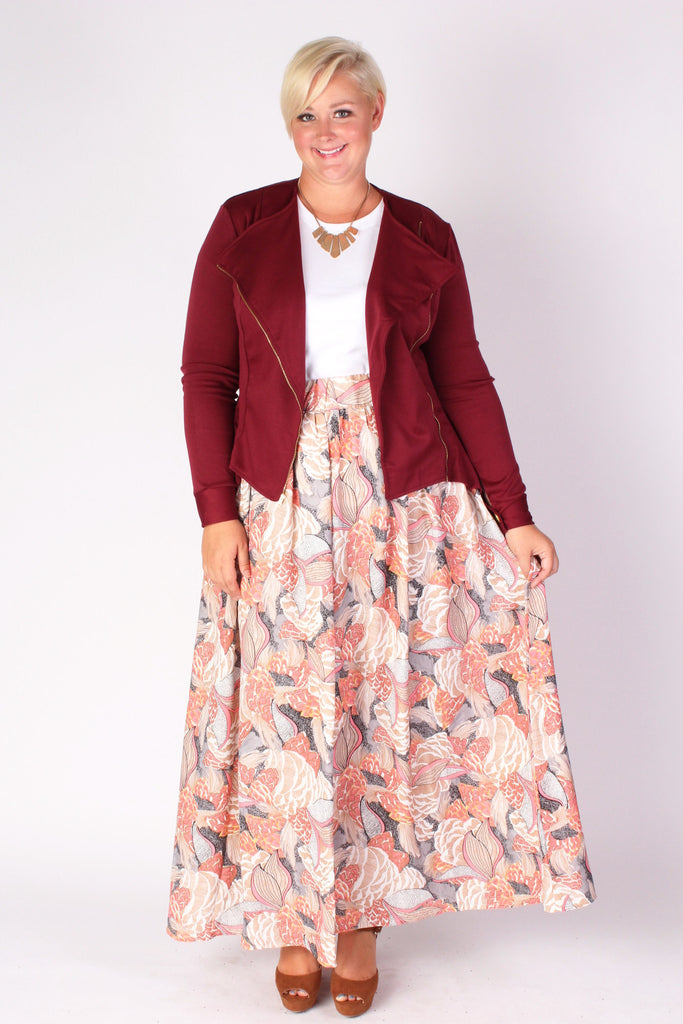 Plus Size Clothing for Women - Posh Zippered Blazer - Burgundy - Society+ - Society Plus - Buy Online Now! - 1
