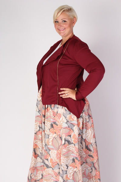 Plus Size Clothing for Women - Posh Zippered Blazer - Burgundy - Society+ - Society Plus - Buy Online Now! - 3