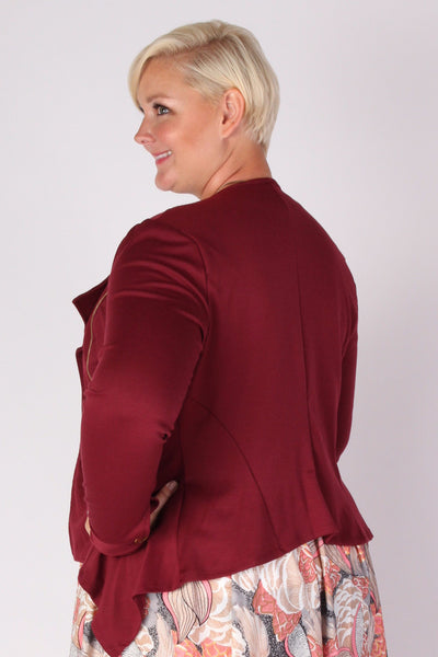 Plus Size Clothing for Women - Posh Zippered Blazer - Burgundy - Society+ - Society Plus - Buy Online Now! - 2