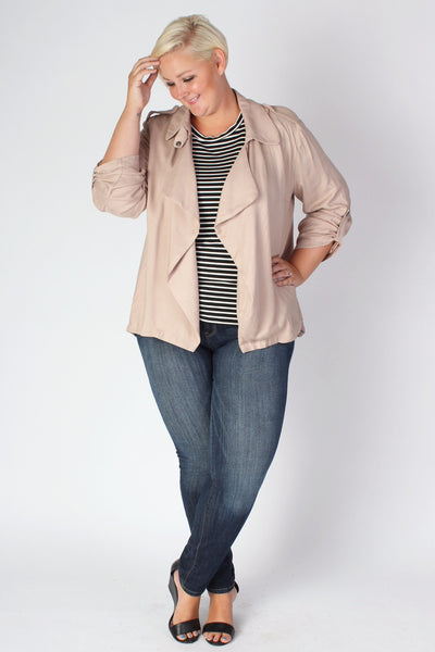 Plus Size Clothing for Women - Sporty Open Cardigan in Taupe - Society+ - Society Plus - Buy Online Now! - 1