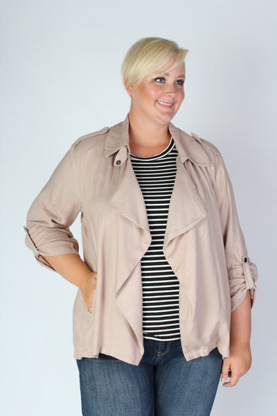 Plus Size Clothing for Women - Sporty Open Cardigan in Taupe - Society+ - Society Plus - Buy Online Now! - 3
