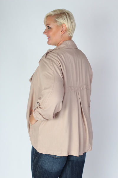 Plus Size Clothing for Women - Sporty Open Cardigan in Taupe - Society+ - Society Plus - Buy Online Now! - 2