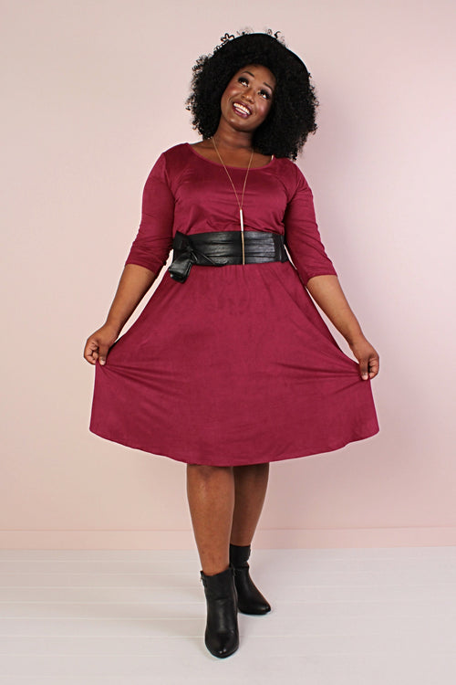 Florence Faux Suede Skater Dress - Burgundy