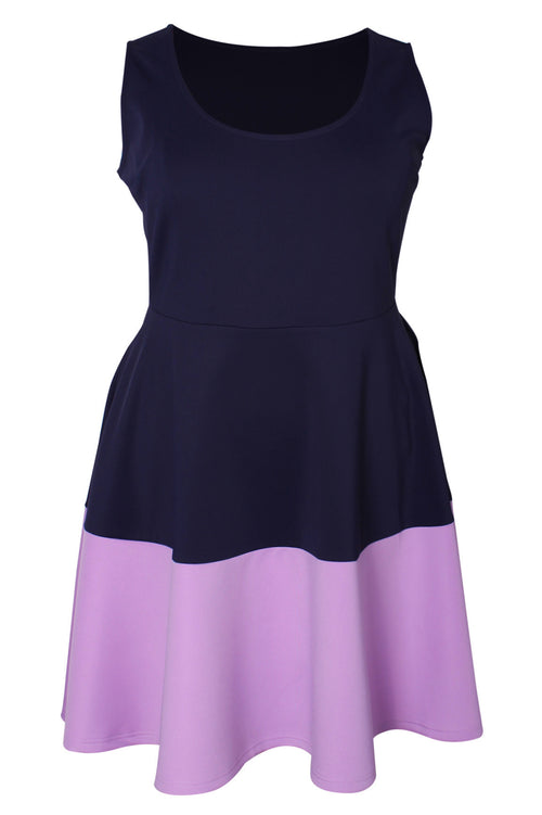 Brooklyn Bold Stripe Skater Dress - Navy/Lilac