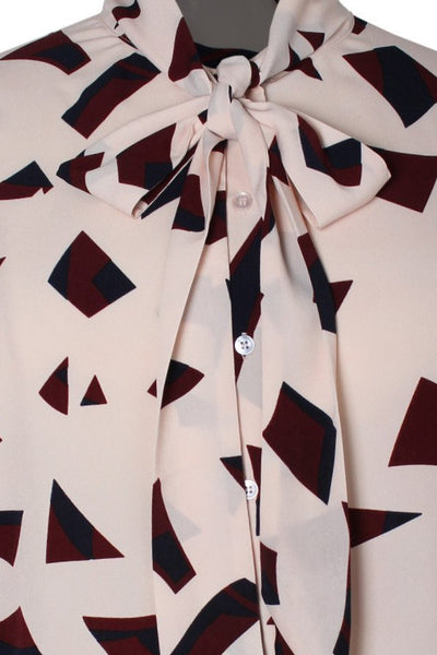 Amabella Abstract Print Bow Blouse