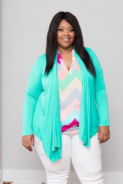 Plus Size Clothing for Women - Multi-Color Sleeveless Chevron Top - Mint - Society+ - Society Plus - Buy Online Now! - 1