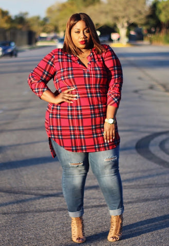 Plus Size Clothing for Women - Jessica Kane Plaid Print Tunic (Sizes 16 - 20) - Society+ - Society Plus - Buy Online Now! - 1