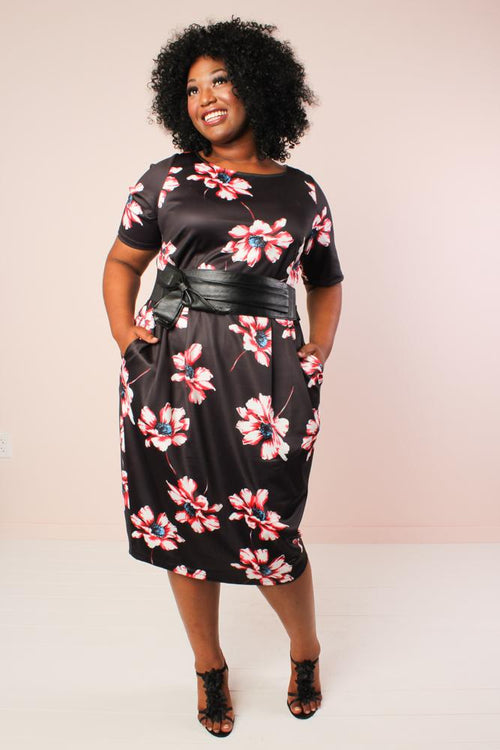 Elizabeth Sheath Dress - Black Floral