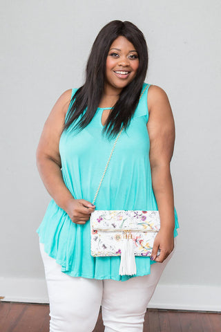 Plus Size Clothing for Women - Sleeveless Flare Tunic - Mint - Society+ - Society Plus - Buy Online Now! - 1