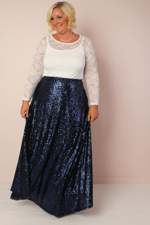 The Showstopper Sequin Maxi Skirt - Dark Blue