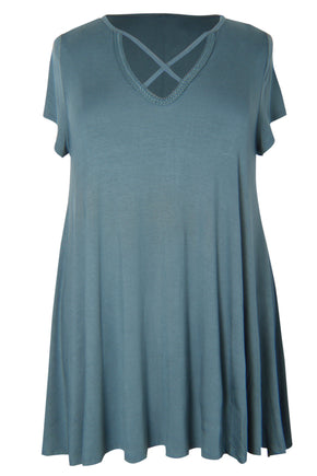 Cross-Neck Tunic w/ Braided Detail