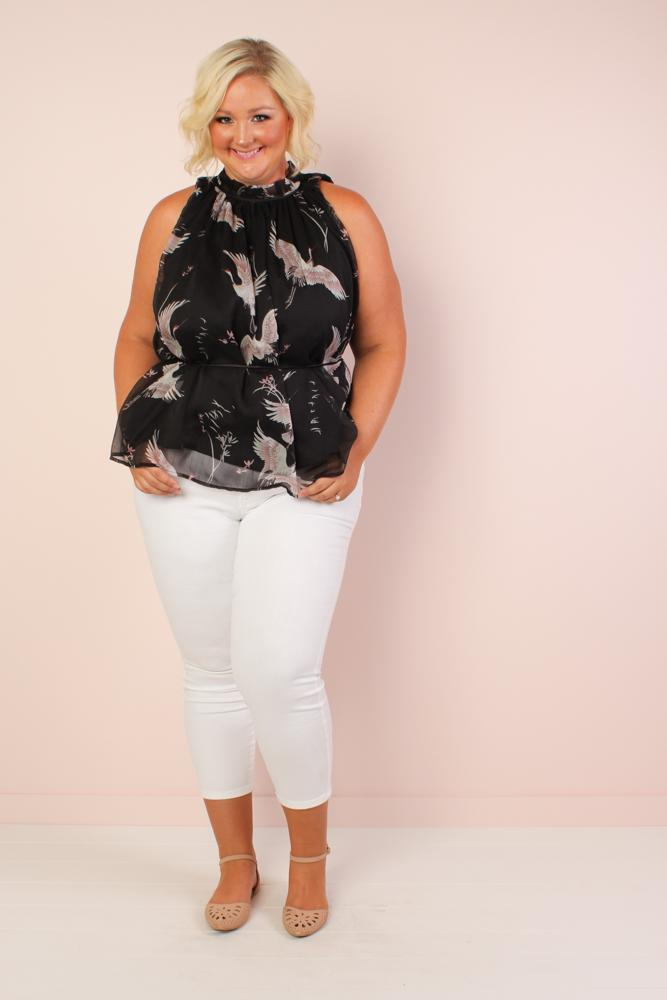 Shamika Crane Print Mock Neck Top