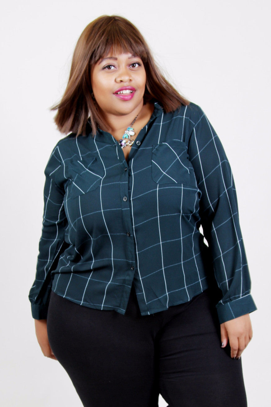 This button up top has the perfect fine white line detail on a deep hunter green background. Tuck it into a pencil skirt or slacks and command the room! Or leave it untucked for a super polished but casual look! 100% Polyester hand wash cold Do not iron Hang dry Imported Front length Back length Arm hole Wrist (buttoned) Size:16/18 27