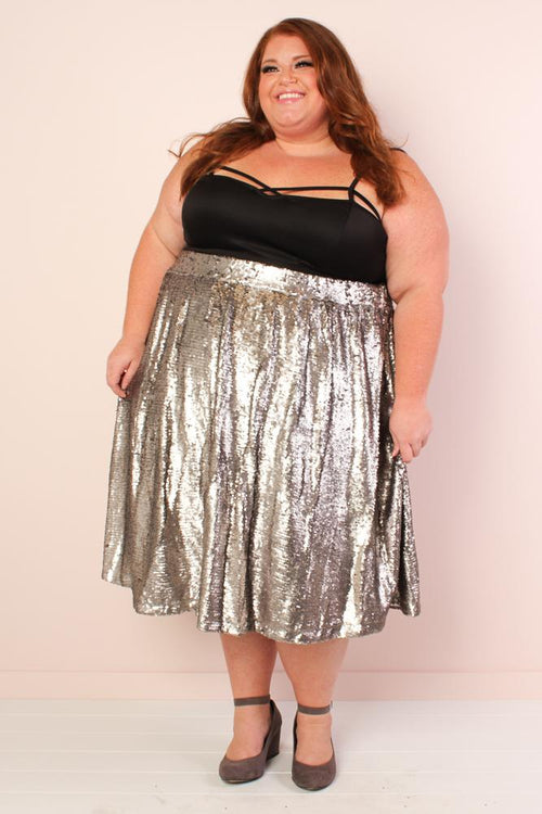 Mermaiden Sequin Skirt - Silver