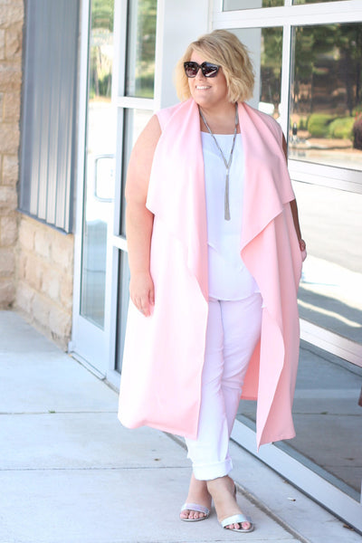 Plus Size Clothing for Women - Chicest Of Them All Vest - Pink - Society+ - Society Plus - Buy Online Now! - 1