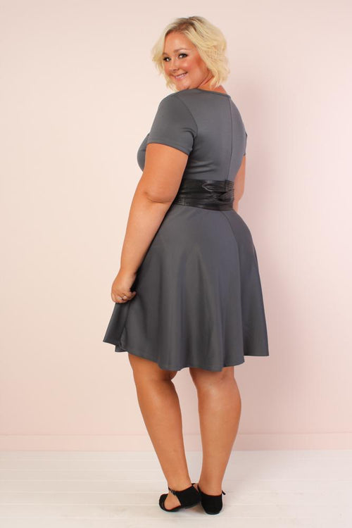 Tinley Solid Skater Dress - Charcoal
