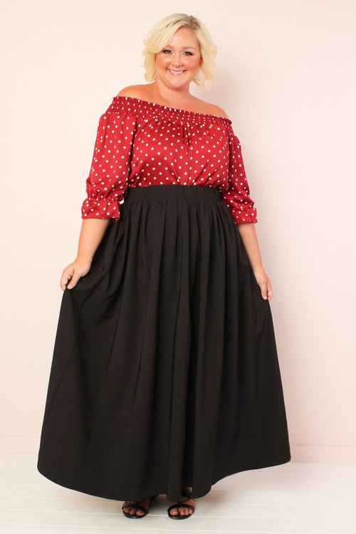 Twirl Maxi Skirt w/ Pockets - Black