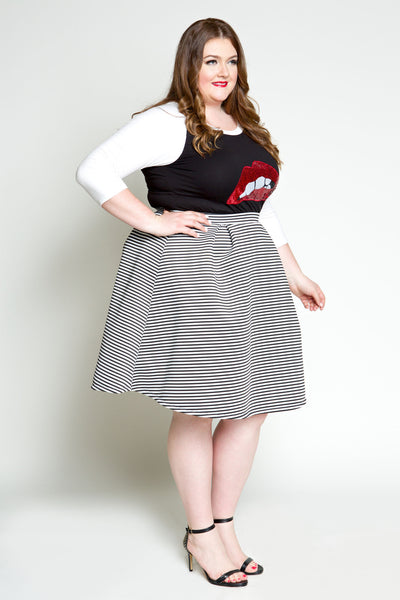 Plus Size Clothing for Women - Seeing Stripes Pleated Skirt - Society+ - Society Plus - Buy Online Now! - 5