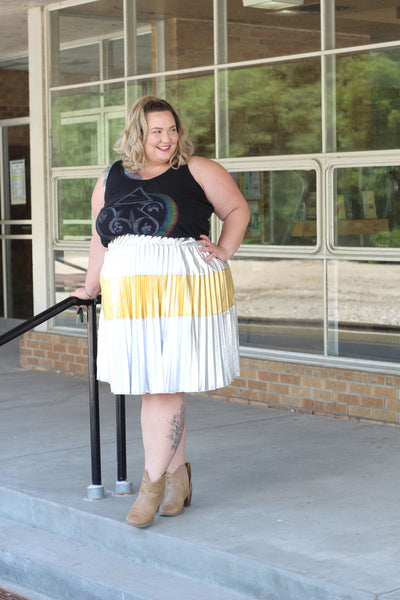 Plus Size Clothing for Women - Jessica Kane Silver/Gold Pleated Skirt - Society+ - Society Plus - Buy Online Now! - 6
