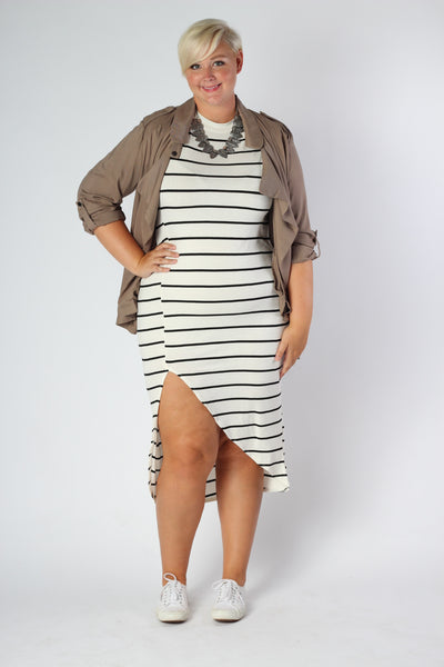 Plus Size Clothing for Women - Nautical Striped Fitted Dress - Ivory - Society+ - Society Plus - Buy Online Now! - 2
