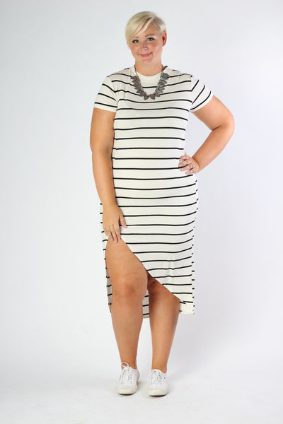 Plus Size Clothing for Women - Nautical Striped Fitted Dress - Ivory - Society+ - Society Plus - Buy Online Now! - 3