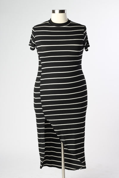 Plus Size Clothing for Women - Nautical Striped Fitted Dress - Black - Society+ - Society Plus - Buy Online Now! - 2