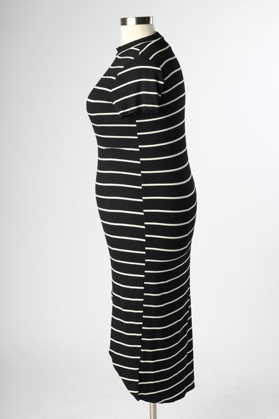 Plus Size Clothing for Women - Nautical Striped Fitted Dress - Black - Society+ - Society Plus - Buy Online Now! - 3