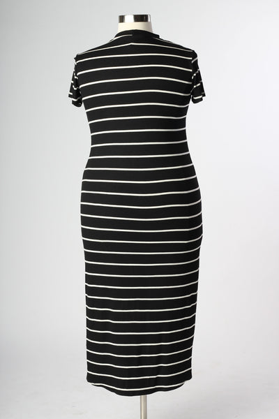 Plus Size Clothing for Women - Nautical Striped Fitted Dress - Black - Society+ - Society Plus - Buy Online Now! - 4