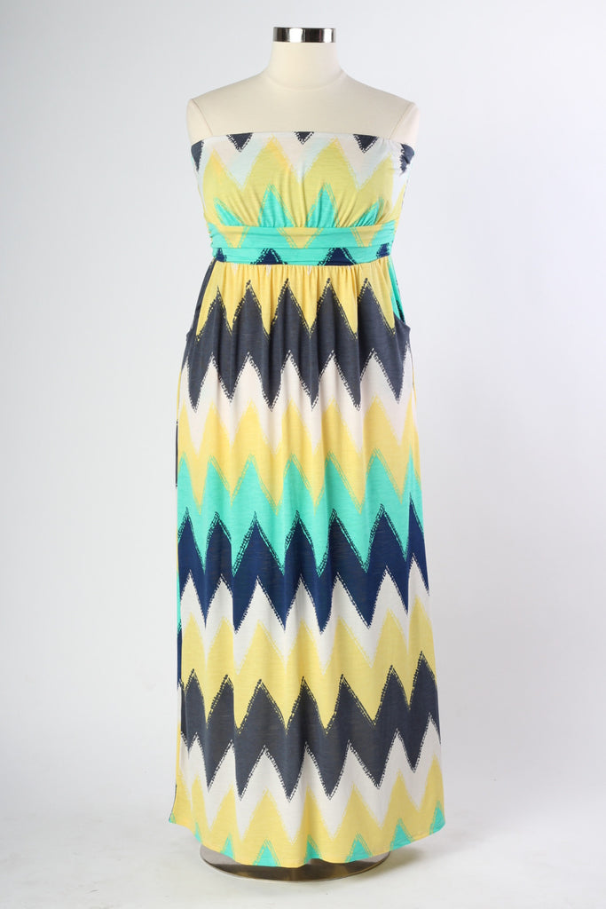 Plus Size Clothing for Women - Nautical Maxi Dress - Yellow - Society+ - Society Plus - Buy Online Now! - 1